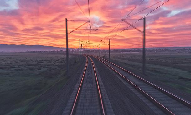 sunset over the railway tracks
