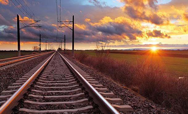 sunrise over the train tracks