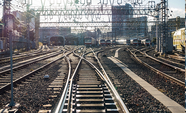 railway tracks into the city