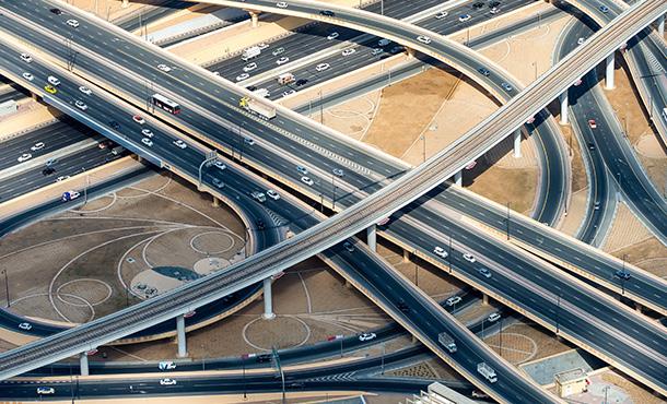 cars on multiple overpasses