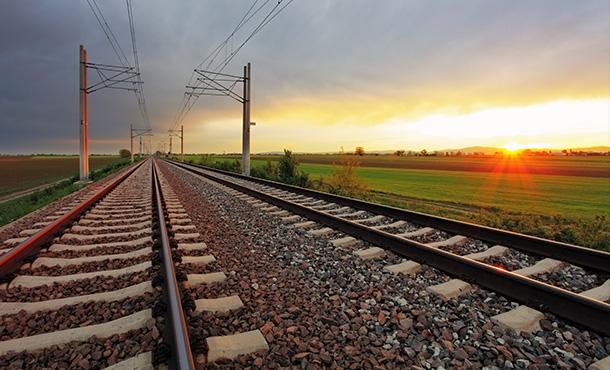 sunrise over the railway lines