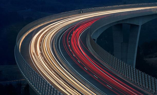 traffic lights on an overpass