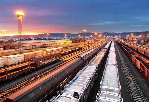 trains at docking station at night