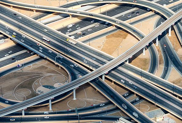 traffic on multiple overpasses